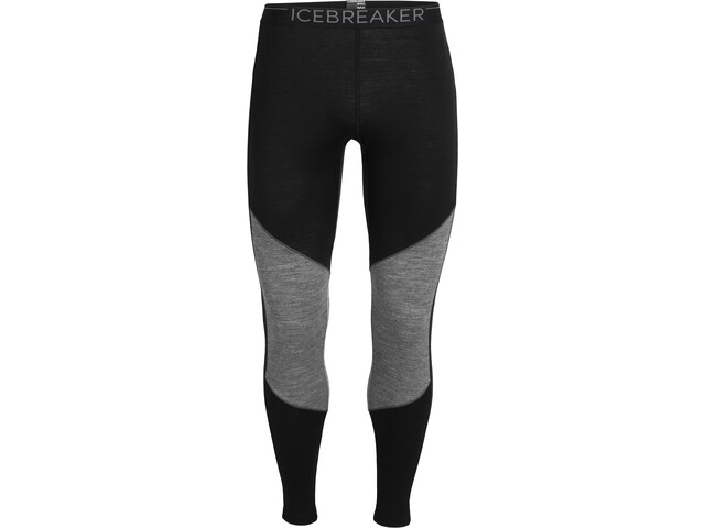 Icebreaker 200 Oasis Deluxe Leggings Herrer, black/gritstone heather